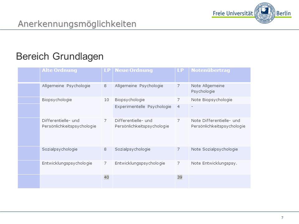 7 Anerkennungsmöglichkeiten Bereich Grundlagen Alte OrdnungLPNeue OrdnungLPNotenübertrag Allgemeine Psychologie8 7 Note Allgemeine Psychologie Biopsyc