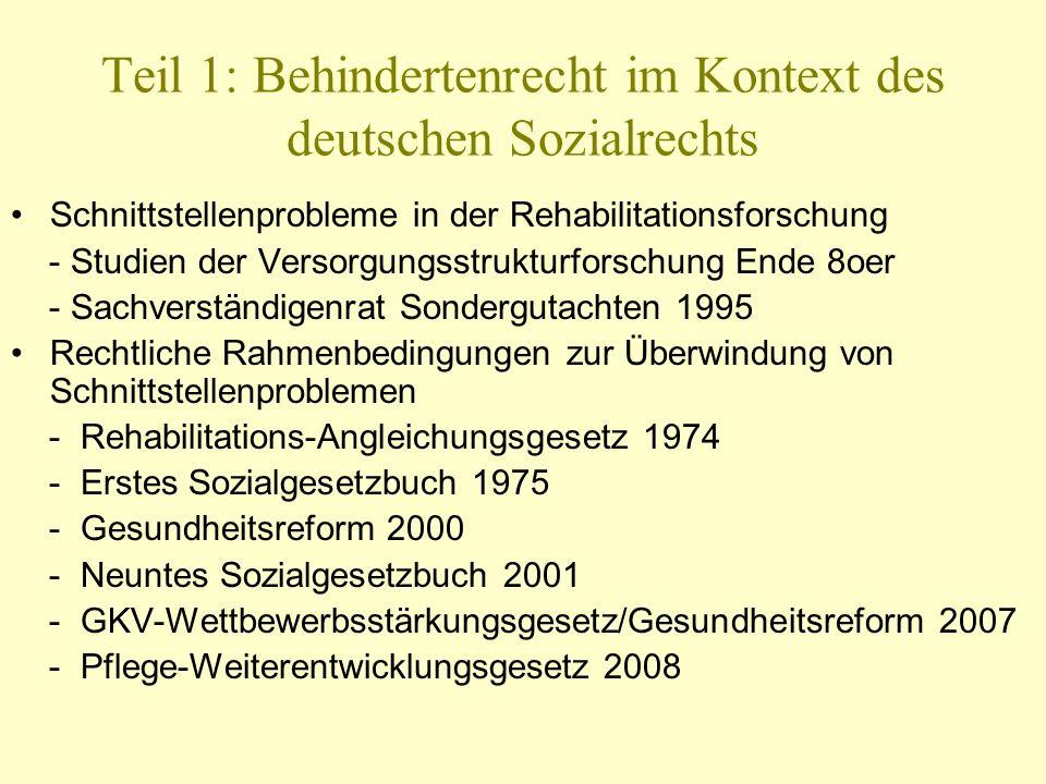 Teil 1: Behindertenrecht im Kontext des deutschen Sozialrechts Schnittstellenprobleme in der Rehabilitationsforschung - Studien der Versorgungsstruktu