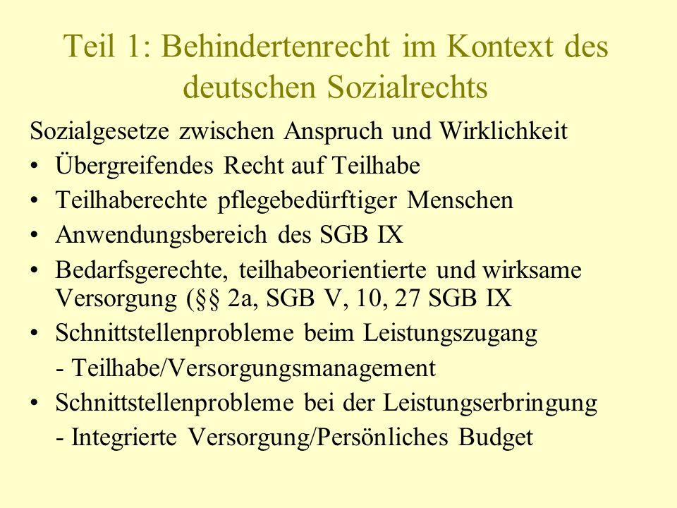 Teil 1: Behindertenrecht im Kontext des deutschen Sozialrechts Sozialgesetze zwischen Anspruch und Wirklichkeit Übergreifendes Recht auf Teilhabe Teil