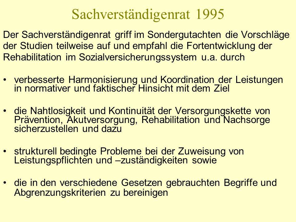Sachverständigenrat 1995 Der Sachverständigenrat griff im Sondergutachten die Vorschläge der Studien teilweise auf und empfahl die Fortentwicklung der