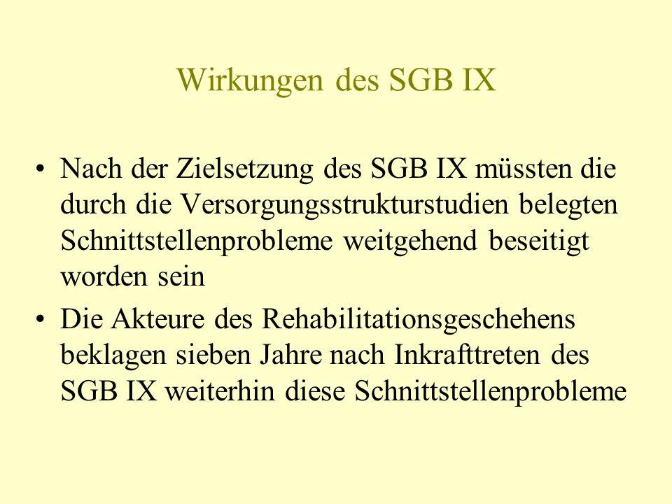 Wirkungen des SGB IX Nach der Zielsetzung des SGB IX müssten die durch die Versorgungsstrukturstudien belegten Schnittstellenprobleme weitgehend besei