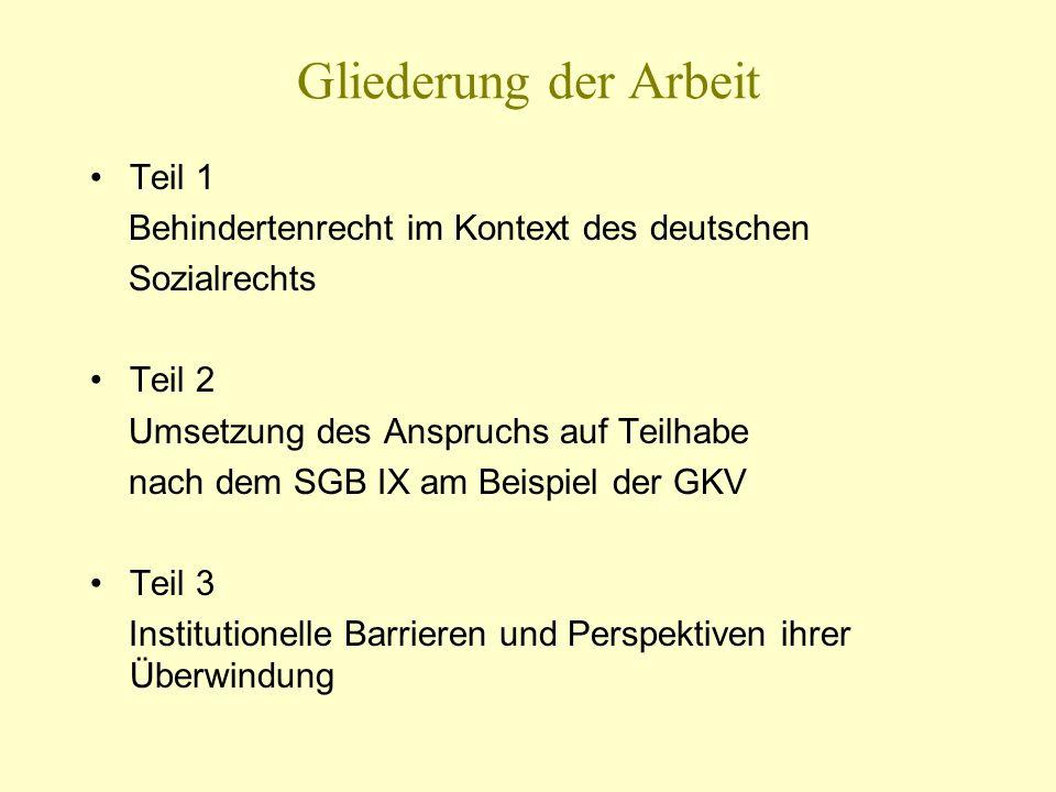 Gliederung der Arbeit Teil 1 Behindertenrecht im Kontext des deutschen Sozialrechts Teil 2 Umsetzung des Anspruchs auf Teilhabe nach dem SGB IX am Bei