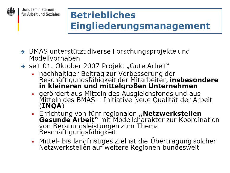 Betriebliches Eingliederungsmanagement è BMAS unterstützt diverse Forschungsprojekte und Modellvorhaben è seit 01. Oktober 2007 Projekt Gute Arbeit na