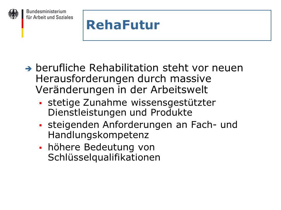 RehaFutur è berufliche Rehabilitation steht vor neuen Herausforderungen durch massive Veränderungen in der Arbeitswelt stetige Zunahme wissensgestützt