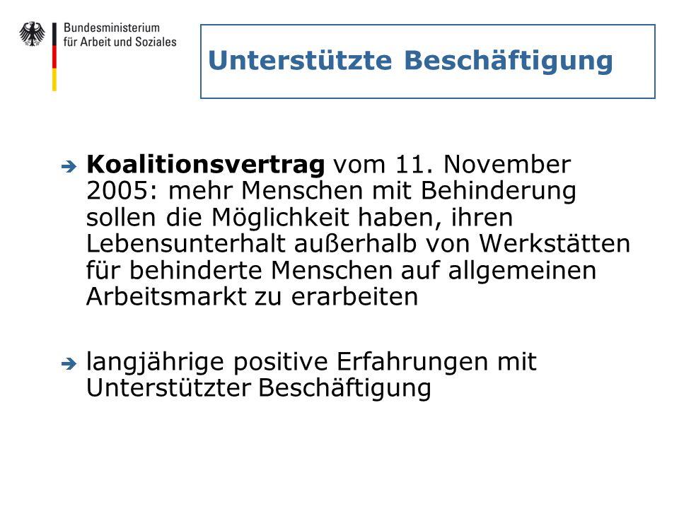 Unterstützte Beschäftigung è Koalitionsvertrag vom 11. November 2005: mehr Menschen mit Behinderung sollen die Möglichkeit haben, ihren Lebensunterhal