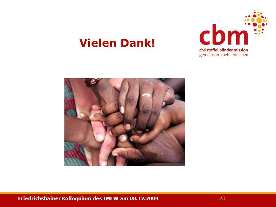 Friedrichshainer Kolloquium des IMEW am 08.12.2009 23 Vielen Dank!