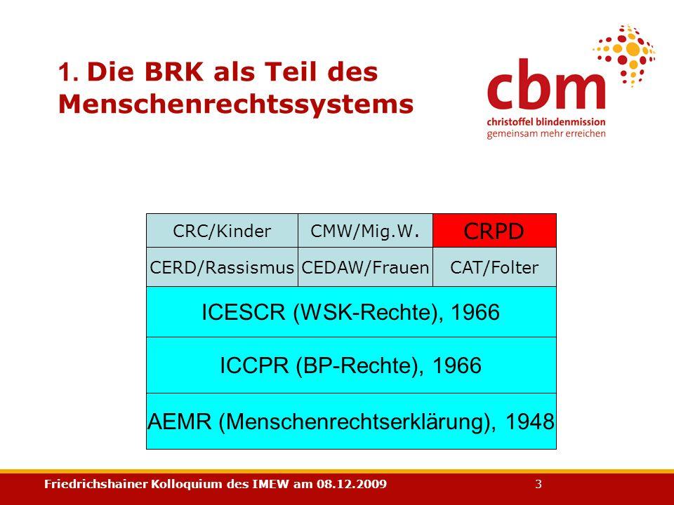 Friedrichshainer Kolloquium des IMEW am 08.12.2009 3 1. Die BRK als Teil des Menschenrechtssystems AEMR (Menschenrechtserklärung), 1948 ICCPR (BP-Rech