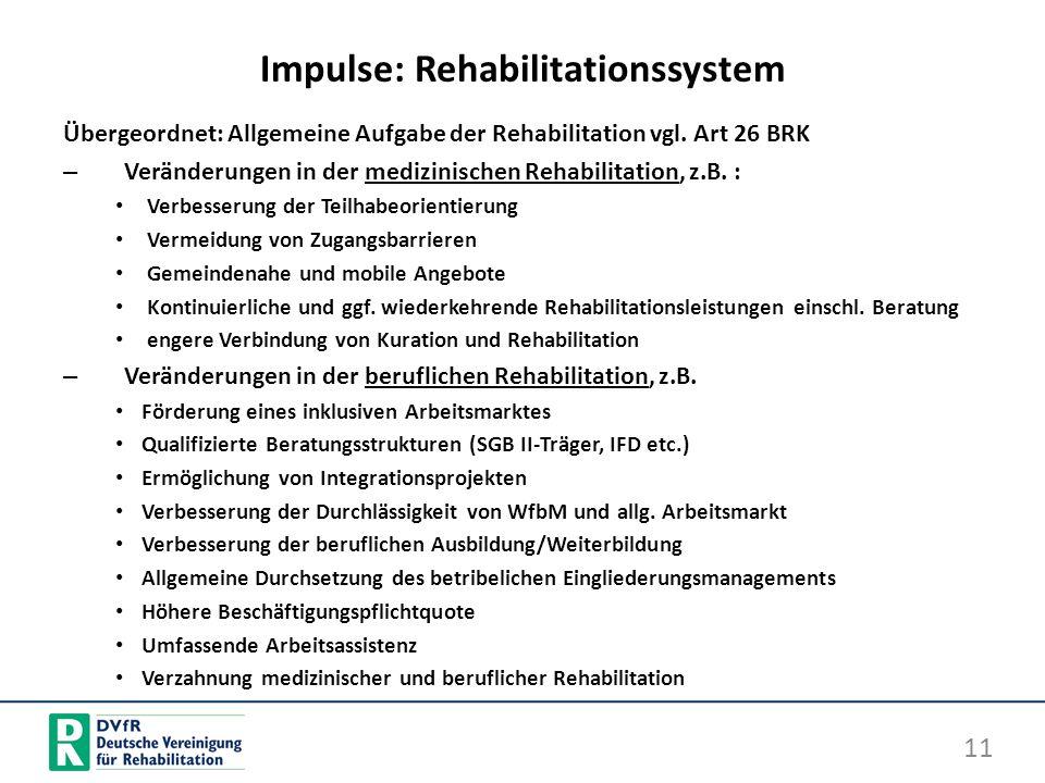 Impulse: Rehabilitationssystem Übergeordnet: Allgemeine Aufgabe der Rehabilitation vgl. Art 26 BRK – Veränderungen in der medizinischen Rehabilitation