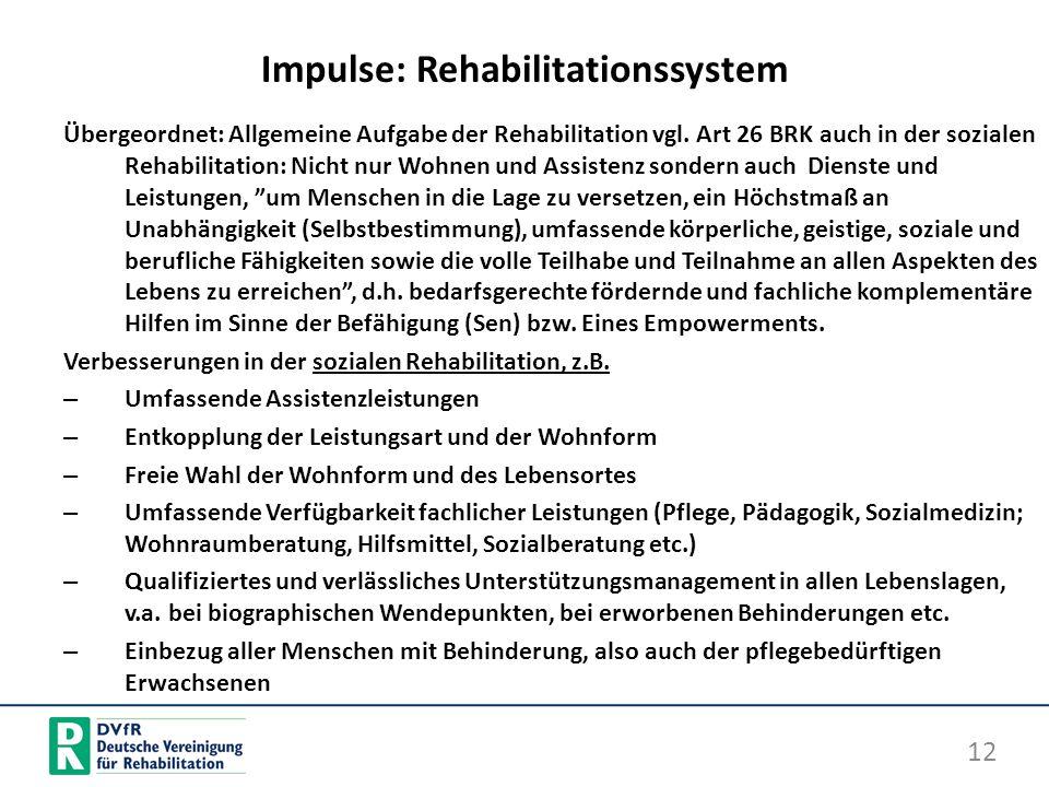 Impulse: Rehabilitationssystem Übergeordnet: Allgemeine Aufgabe der Rehabilitation vgl. Art 26 BRK auch in der sozialen Rehabilitation: Nicht nur Wohn