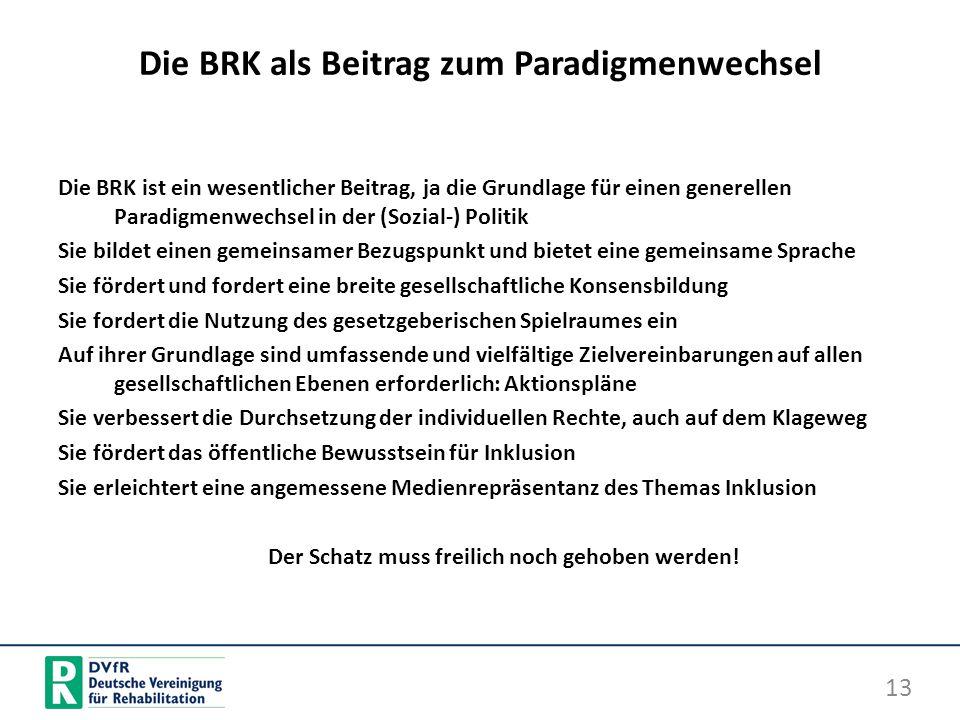 Die BRK als Beitrag zum Paradigmenwechsel Die BRK ist ein wesentlicher Beitrag, ja die Grundlage für einen generellen Paradigmenwechsel in der (Sozial