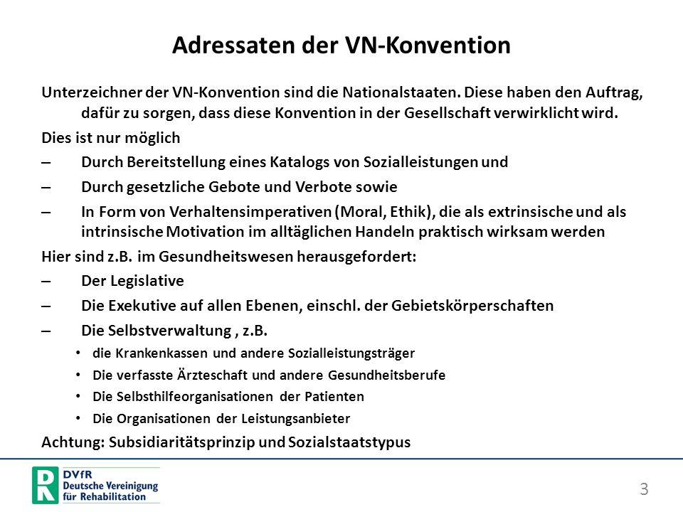 Adressaten der VN-Konvention Unterzeichner der VN-Konvention sind die Nationalstaaten. Diese haben den Auftrag, dafür zu sorgen, dass diese Konvention