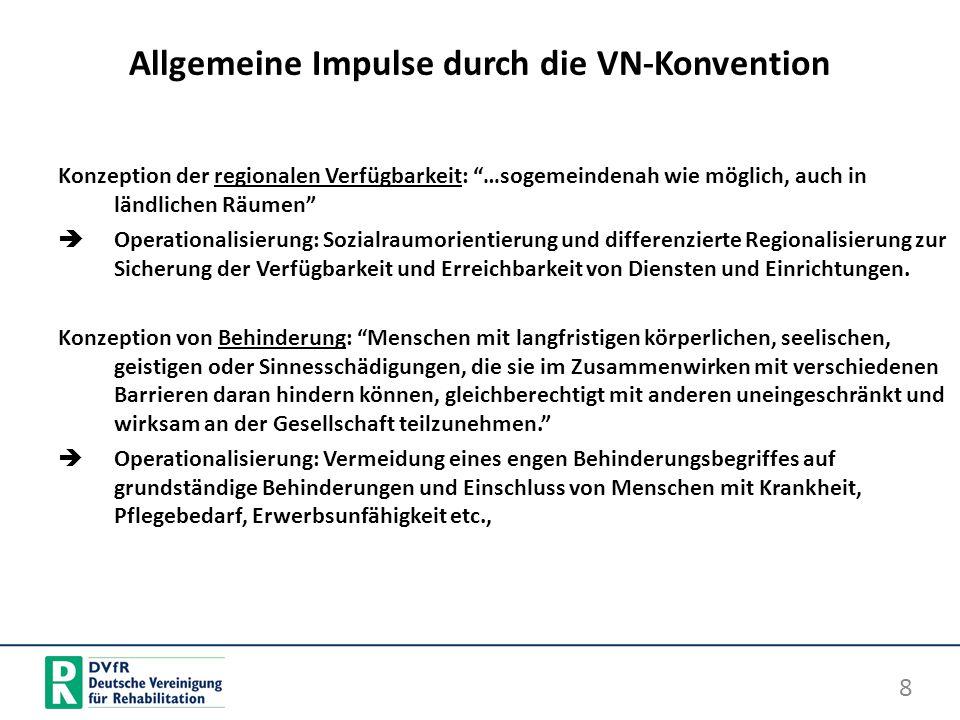 Allgemeine Impulse durch die VN-Konvention Konzeption der regionalen Verfügbarkeit: …sogemeindenah wie möglich, auch in ländlichen Räumen Operationali