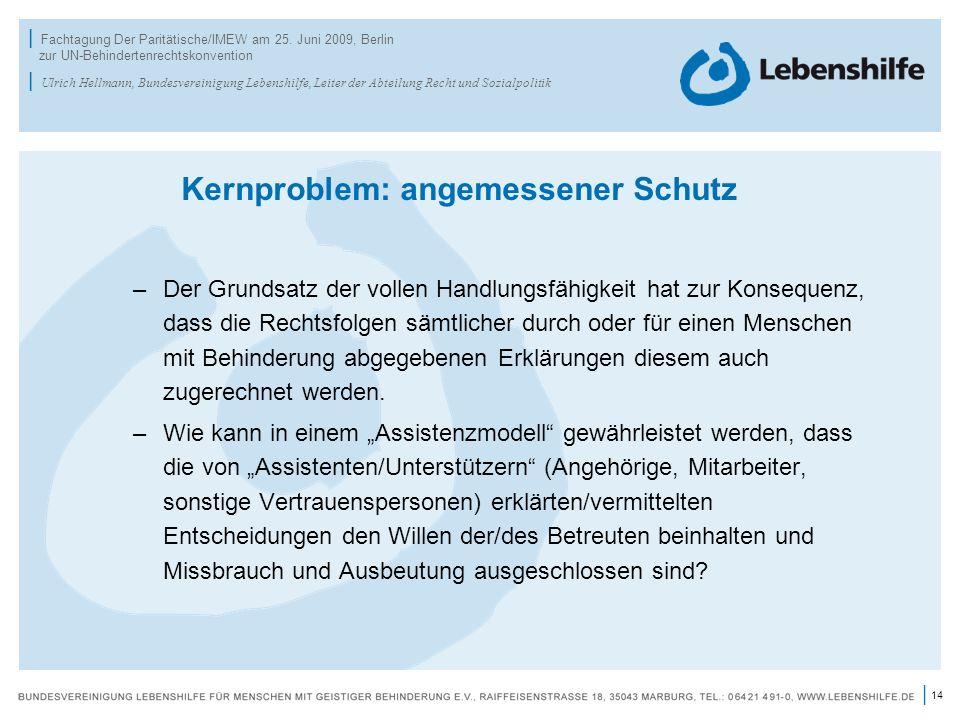 14 | | Fachtagung Der Paritätische/IMEW am 25. Juni 2009, Berlin zur UN-Behindertenrechtskonvention | Ulrich Hellmann, Bundesvereinigung Lebenshilfe,
