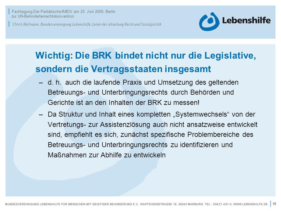 15 | | Fachtagung Der Paritätische/IMEW am 25. Juni 2009, Berlin zur UN-Behindertenrechtskonvention | Ulrich Hellmann, Bundesvereinigung Lebenshilfe,
