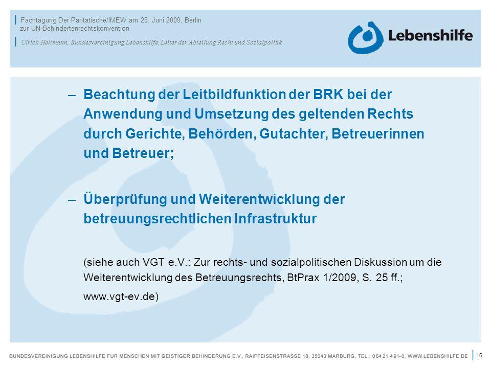 16 | | Fachtagung Der Paritätische/IMEW am 25. Juni 2009, Berlin zur UN-Behindertenrechtskonvention | Ulrich Hellmann, Bundesvereinigung Lebenshilfe,