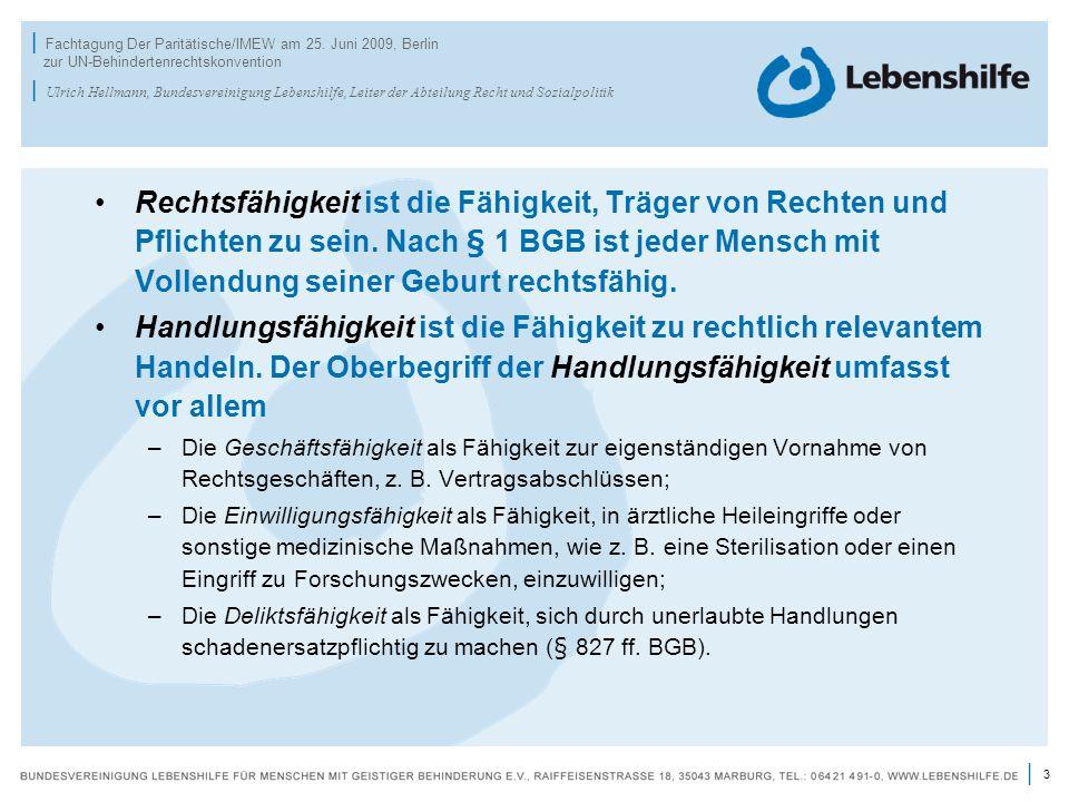 3 | | Fachtagung Der Paritätische/IMEW am 25. Juni 2009, Berlin zur UN-Behindertenrechtskonvention | Ulrich Hellmann, Bundesvereinigung Lebenshilfe, L