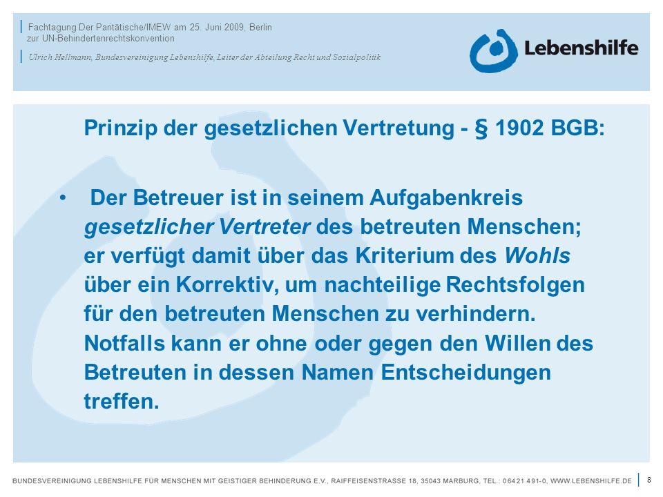 8 | | Fachtagung Der Paritätische/IMEW am 25. Juni 2009, Berlin zur UN-Behindertenrechtskonvention | Ulrich Hellmann, Bundesvereinigung Lebenshilfe, L