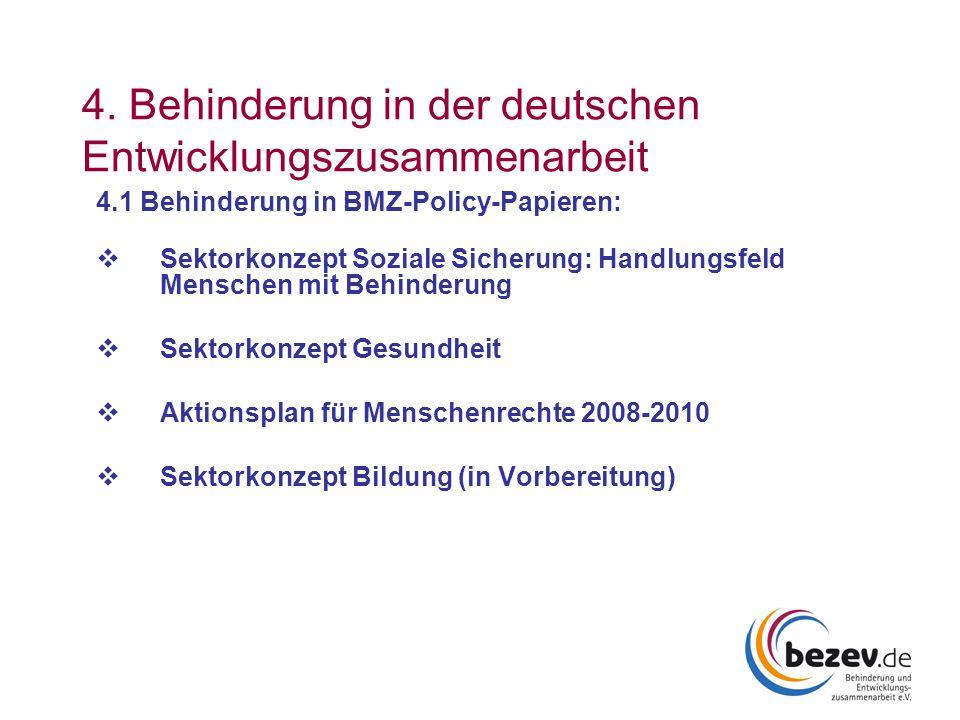 4. Behinderung in der deutschen Entwicklungszusammenarbeit 4.1 Behinderung in BMZ-Policy-Papieren: Sektorkonzept Soziale Sicherung: Handlungsfeld Mens