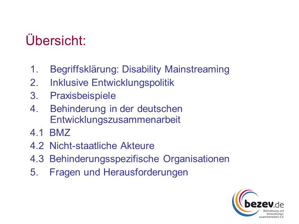 Übersicht: 1.Begriffsklärung: Disability Mainstreaming 2.Inklusive Entwicklungspolitik 3.Praxisbeispiele 4.Behinderung in der deutschen Entwicklungszu