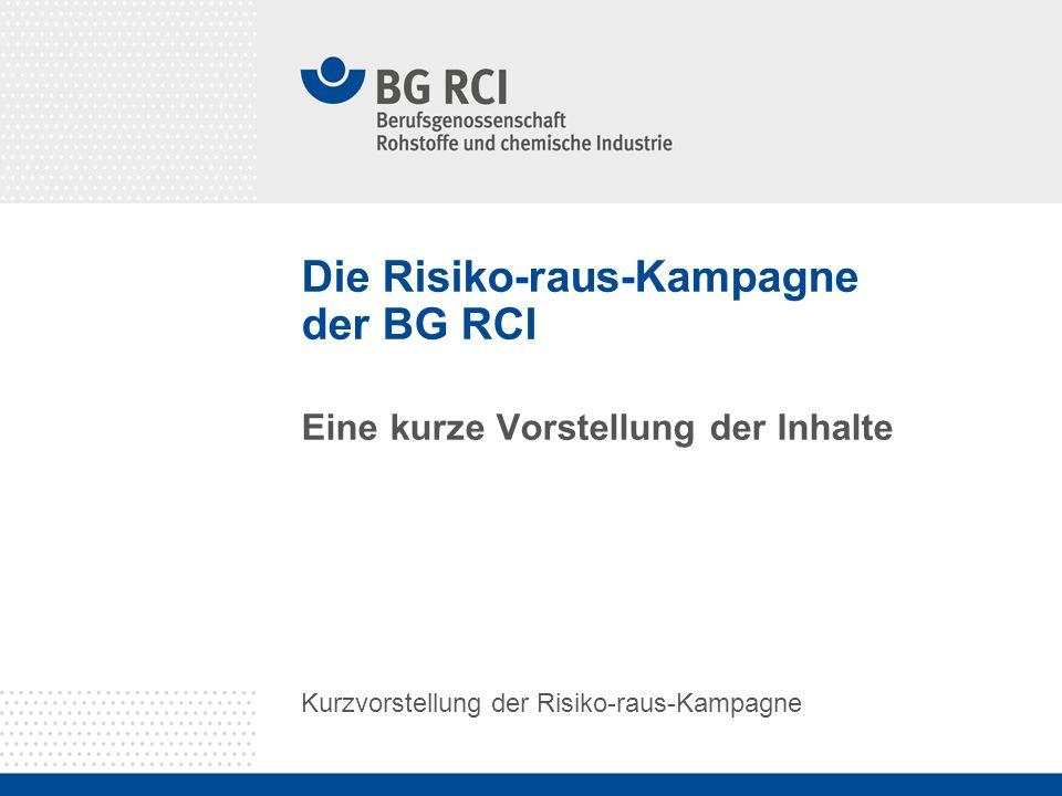 Kurzvorstellung der Risiko-raus-Kampagne - In 2010 und 2011 wird die BG RCI an einer Kampagne zur Reduzierung und Verhütung von Unfällen und Gesundheitsgefahren im Bereich Transport- und Verkehr teilnehmen.