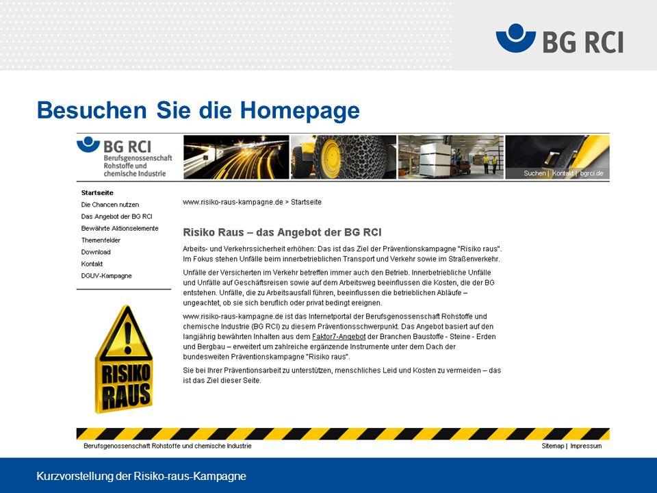 Kurzvorstellung der Risiko-raus-Kampagne Besuchen Sie die Homepage