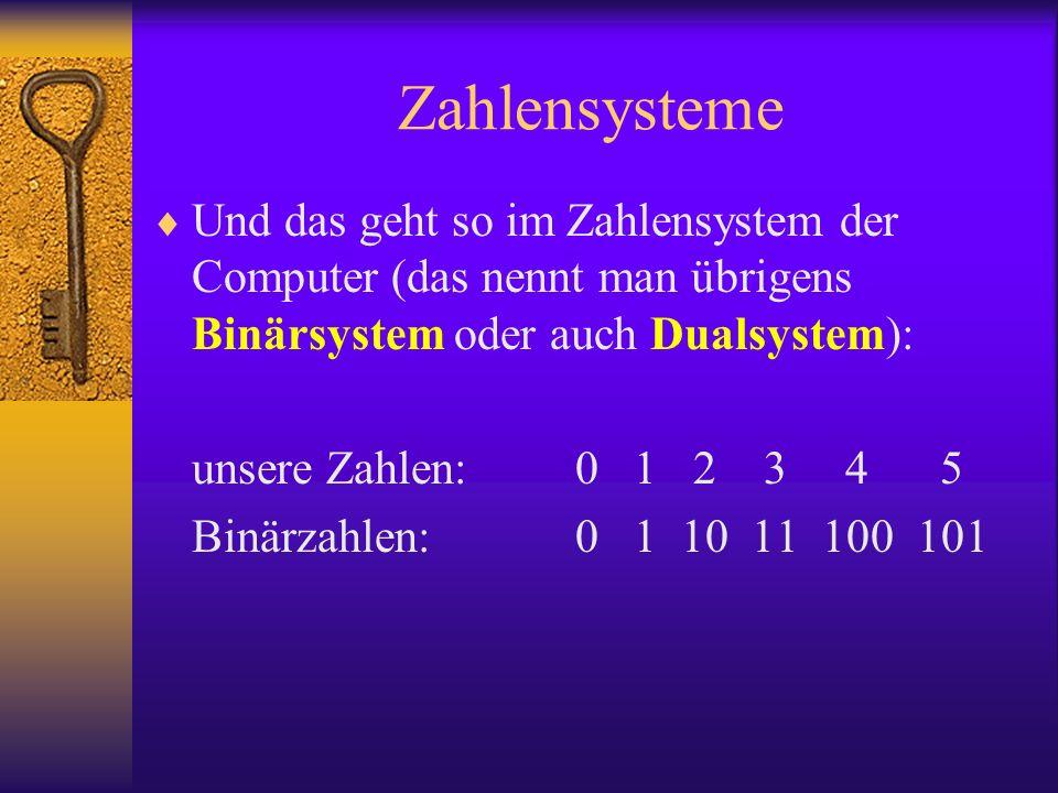 Zahlensysteme Und das geht so im Zahlensystem der Computer (das nennt man übrigens Binärsystem oder auch Dualsystem): unsere Zahlen:0 1 2 3 4 5 Binärz