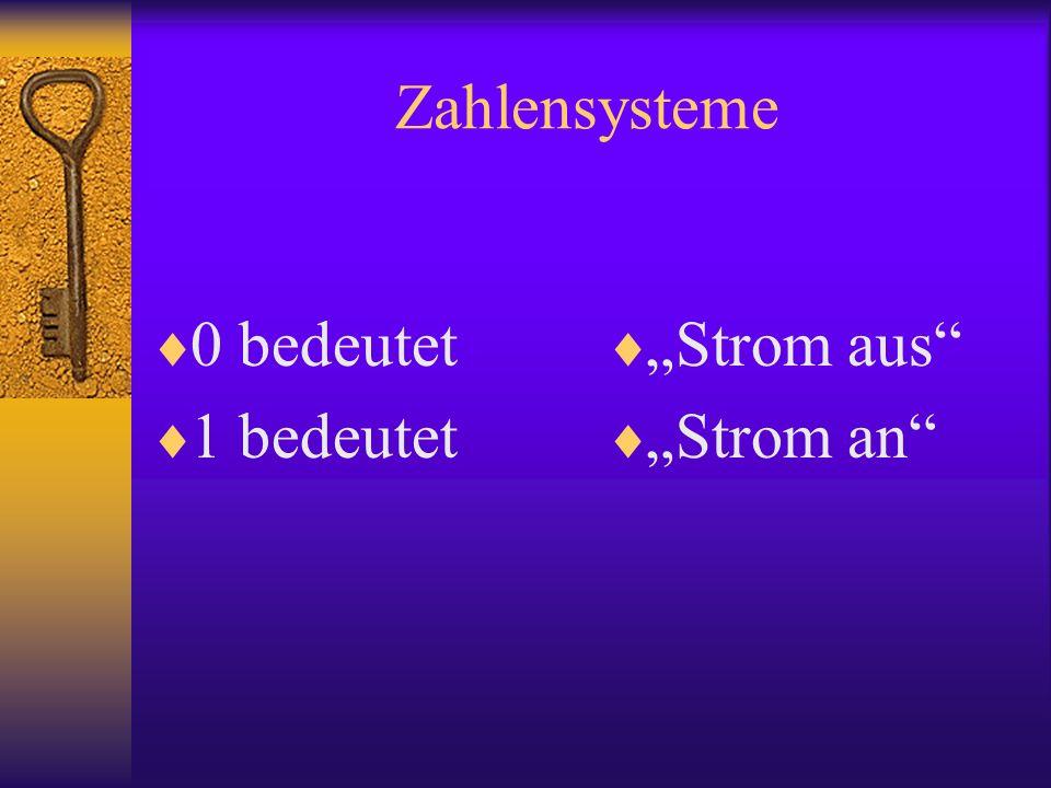 Zahlensysteme 0 bedeutet 1 bedeutet Strom aus Strom an