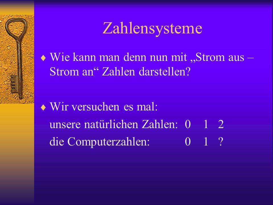 Zahlensysteme Wie kann man denn nun mit Strom aus – Strom an Zahlen darstellen? Wir versuchen es mal: unsere natürlichen Zahlen: 01 2 die Computerzahl
