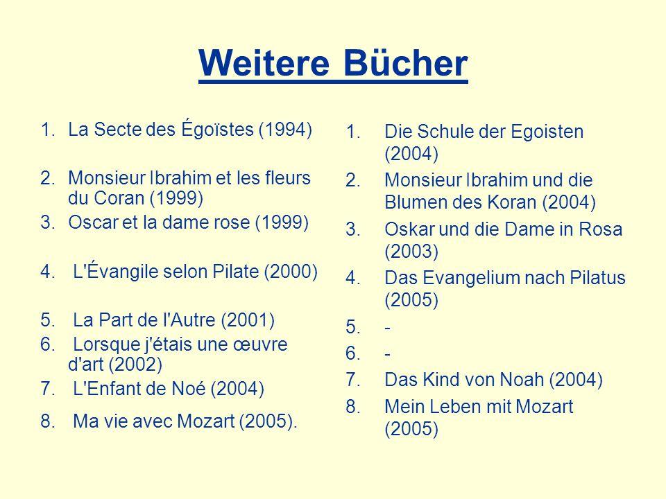 Weitere Bücher 1.La Secte des Égoïstes (1994) 2.Monsieur Ibrahim et les fleurs du Coran (1999) 3.Oscar et la dame rose (1999) 4. L'Évangile selon Pila