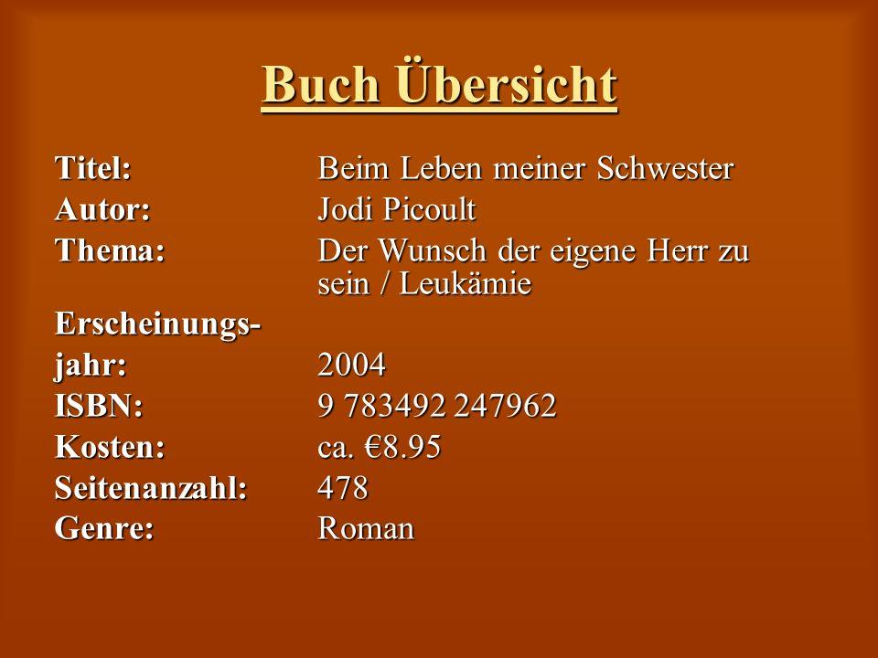 Buch Übersicht Titel:Beim Leben meiner Schwester Autor: Jodi Picoult Thema:Der Wunsch der eigene Herr zu sein / Leukämie Erscheinungs- jahr: 2004 ISBN