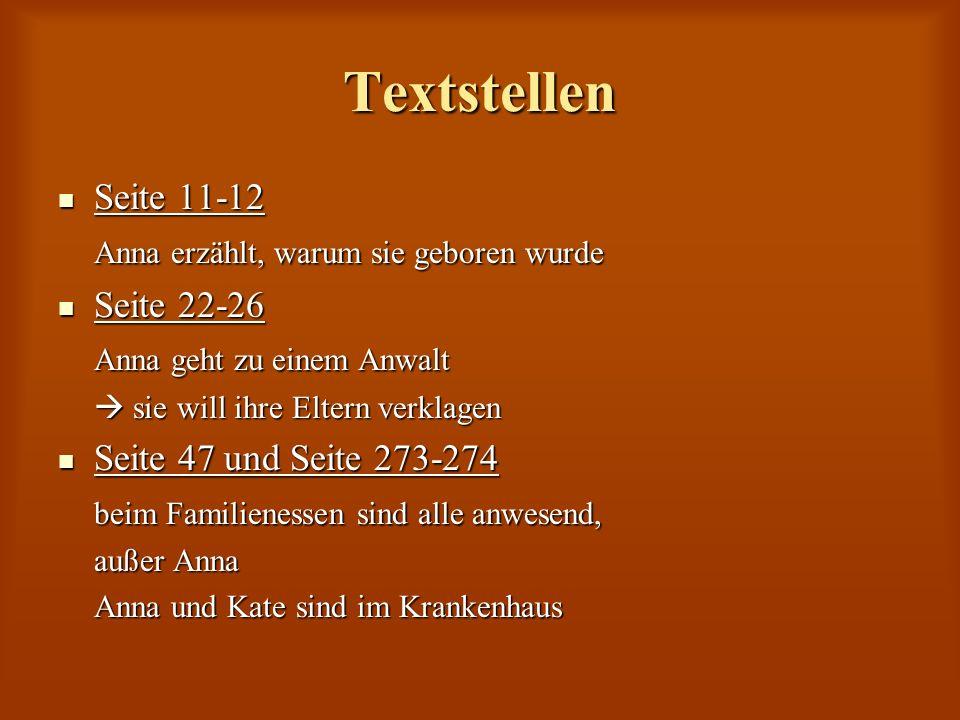 Textstellen Seite 11-12 Seite 11-12 Anna erzählt, warum sie geboren wurde Seite 22-26 Seite 22-26 Anna geht zu einem Anwalt sie will ihre Eltern verkl