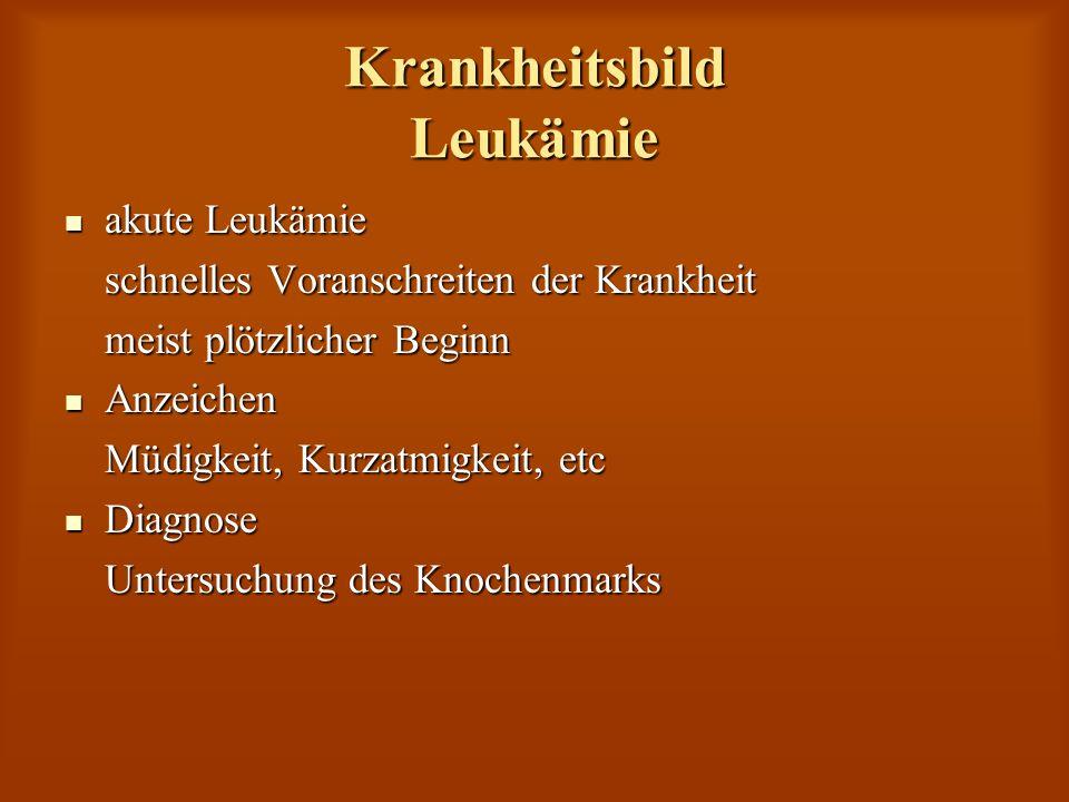 Krankheitsbild Leukämie akute Leukämie akute Leukämie schnelles Voranschreiten der Krankheit meist plötzlicher Beginn Anzeichen Anzeichen Müdigkeit, K
