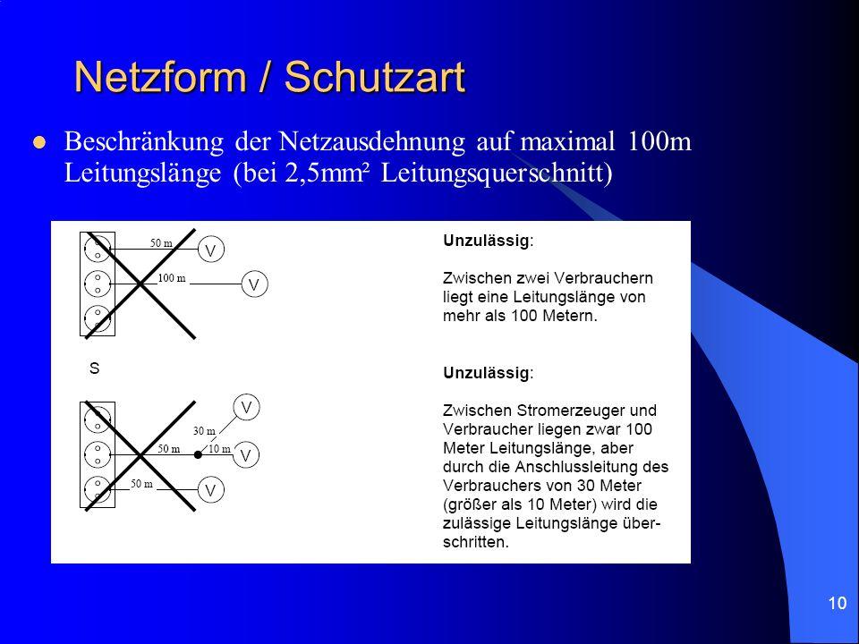 10 Netzform / Schutzart Beschränkung der Netzausdehnung auf maximal 100m Leitungslänge (bei 2,5mm² Leitungsquerschnitt)