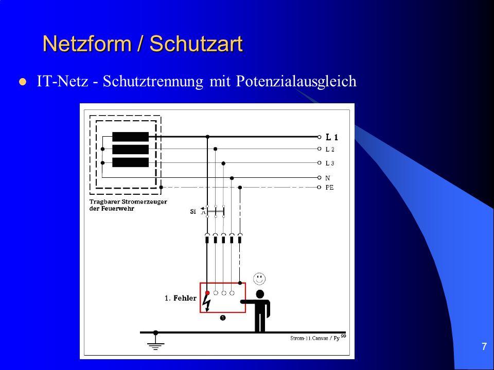 7 Netzform / Schutzart IT-Netz - Schutztrennung mit Potenzialausgleich