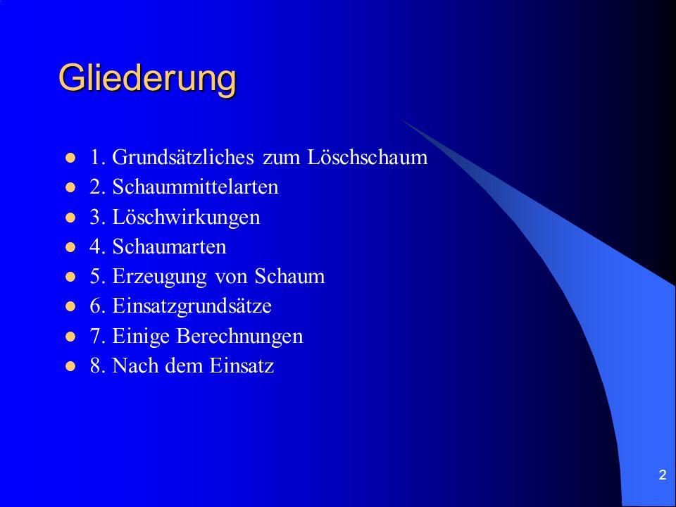 2 Gliederung 1. Grundsätzliches zum Löschschaum 2. Schaummittelarten 3. Löschwirkungen 4. Schaumarten 5. Erzeugung von Schaum 6. Einsatzgrundsätze 7.