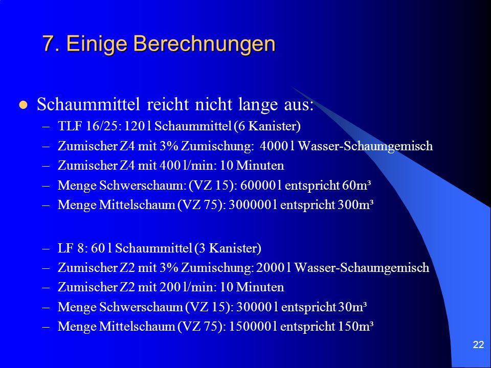 22 7. Einige Berechnungen Schaummittel reicht nicht lange aus: –TLF 16/25: 120 l Schaummittel (6 Kanister) –Zumischer Z4 mit 3% Zumischung: 4000 l Was