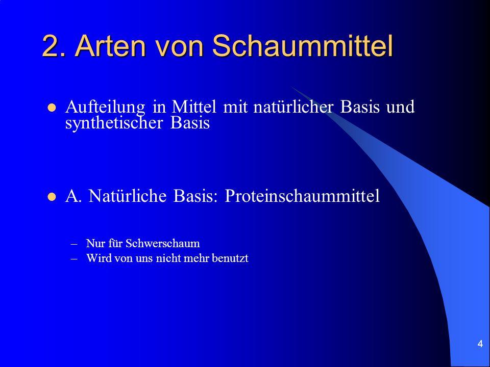 4 2. Arten von Schaummittel Aufteilung in Mittel mit natürlicher Basis und synthetischer Basis A. Natürliche Basis: Proteinschaummittel –Nur für Schwe