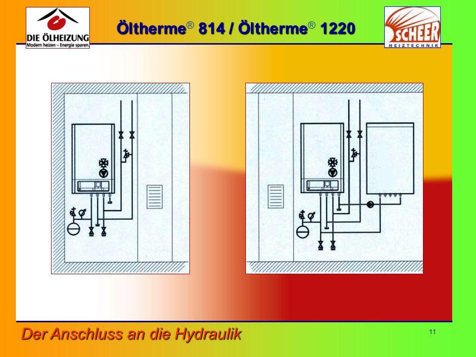 11 Öltherme 814 / Öltherme 1220 Öltherme ® 814 / Öltherme ® 1220 Der Anschluss an die Hydraulik