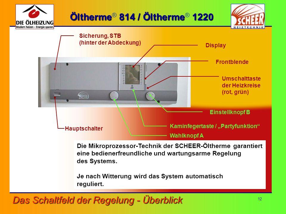 12 Die Mikroprozessor-Technik der SCHEER-Öltherme garantiert eine bedienerfreundliche und wartungsarme Regelung des Systems. Je nach Witterung wird da