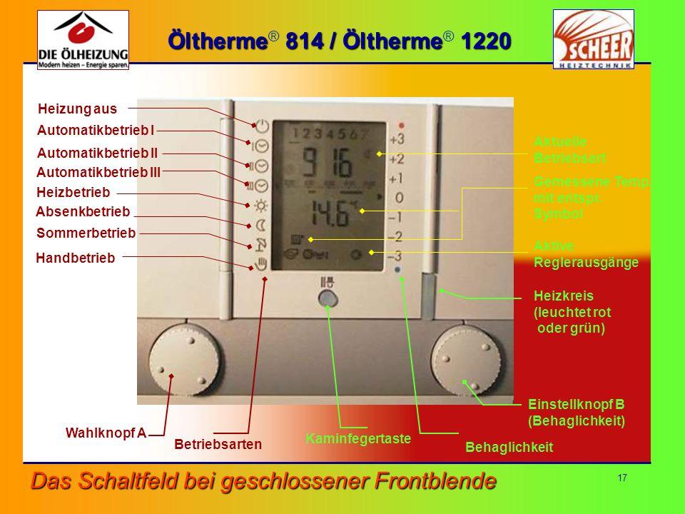 17 Das Schaltfeld bei geschlossener Frontblende Wahlknopf A Betriebsarten Einstellknopf B (Behaglichkeit) Heizkreis (leuchtet rot oder grün) Kaminfege
