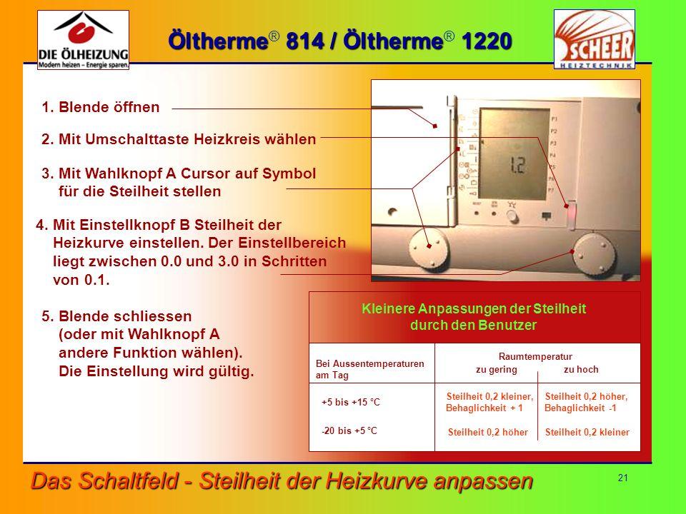 21 Das Schaltfeld - Steilheit der Heizkurve anpassen Öltherme 814 / Öltherme 1220 Öltherme ® 814 / Öltherme ® 1220 1. Blende öffnen 2. Mit Umschalttas
