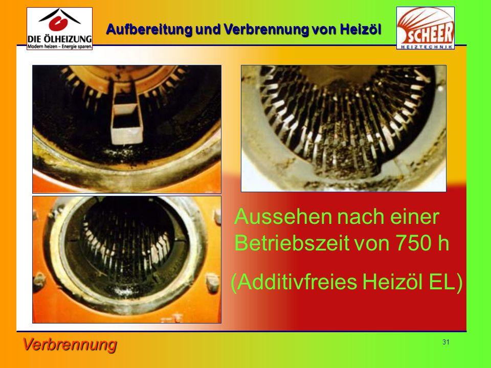 31 Aussehen nach einer Betriebszeit von 750 h (Additivfreies Heizöl EL) Verbrennung Aufbereitung und Verbrennung von Heizöl