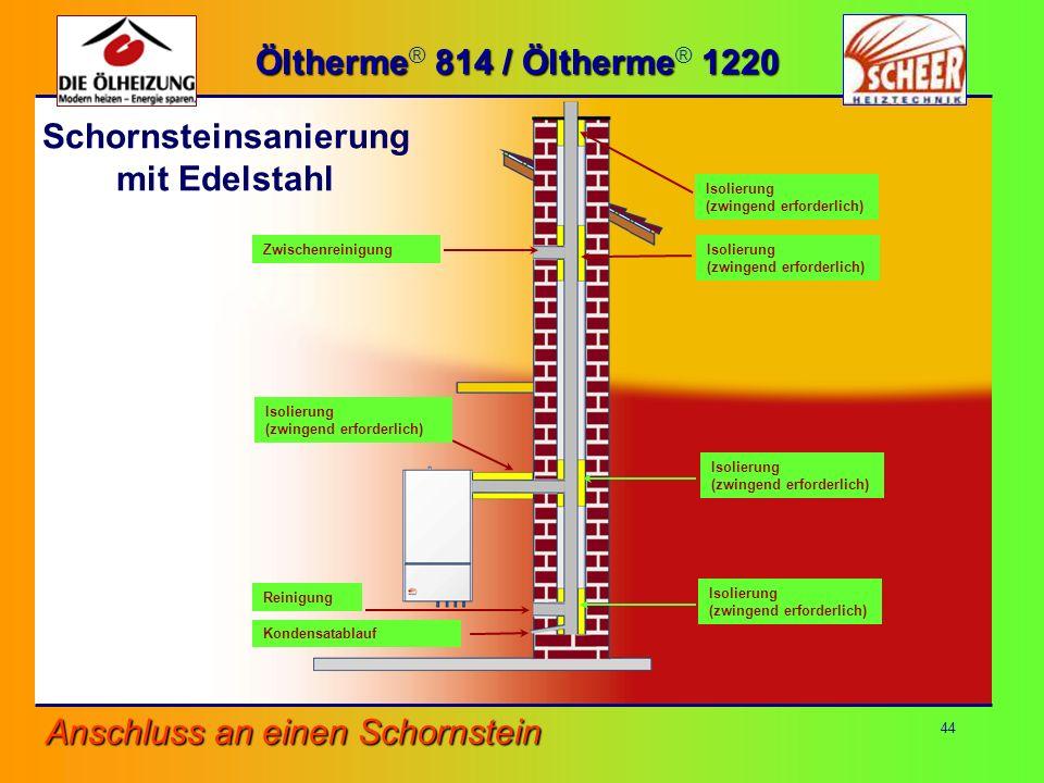 44 Zwischenreinigung Reinigung Kondensatablauf Isolierung (zwingend erforderlich) Anschluss an einen Schornstein Isolierung (zwingend erforderlich) Is