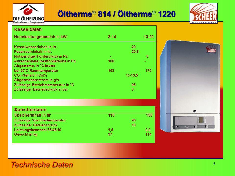 6 Technische Daten Öltherme 814 / Öltherme 1220 Öltherme ® 814 / Öltherme ® 1220 Kesseldaten Nennleistungsbereich in kW:8-14 13-20 Kesselwasserinhalt