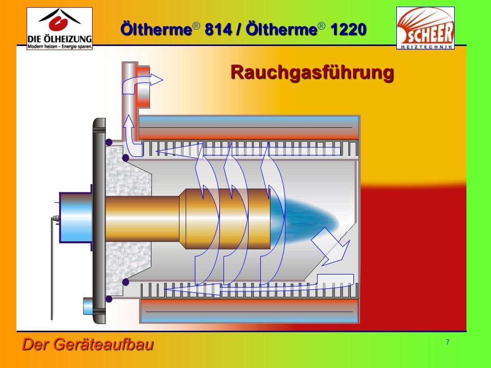 7 Öltherme 814 / Öltherme 1220 Öltherme ® 814 / Öltherme ® 1220Rauchgasführung Der Geräteaufbau