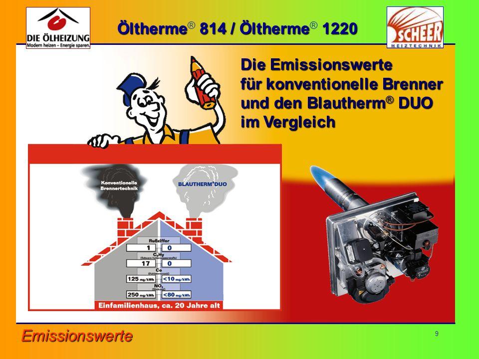 9 Öltherme 814 / Öltherme 1220 Öltherme ® 814 / Öltherme ® 1220 Die Emissionswerte für konventionelle Brenner und den Blautherm ® DUO im Vergleich Emi