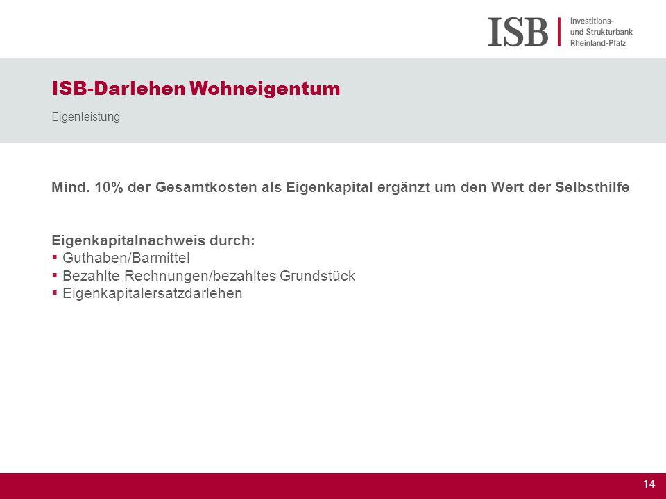 14 Mind. 10% der Gesamtkosten als Eigenkapital ergänzt um den Wert der Selbsthilfe Eigenkapitalnachweis durch: Guthaben/Barmittel Bezahlte Rechnungen/