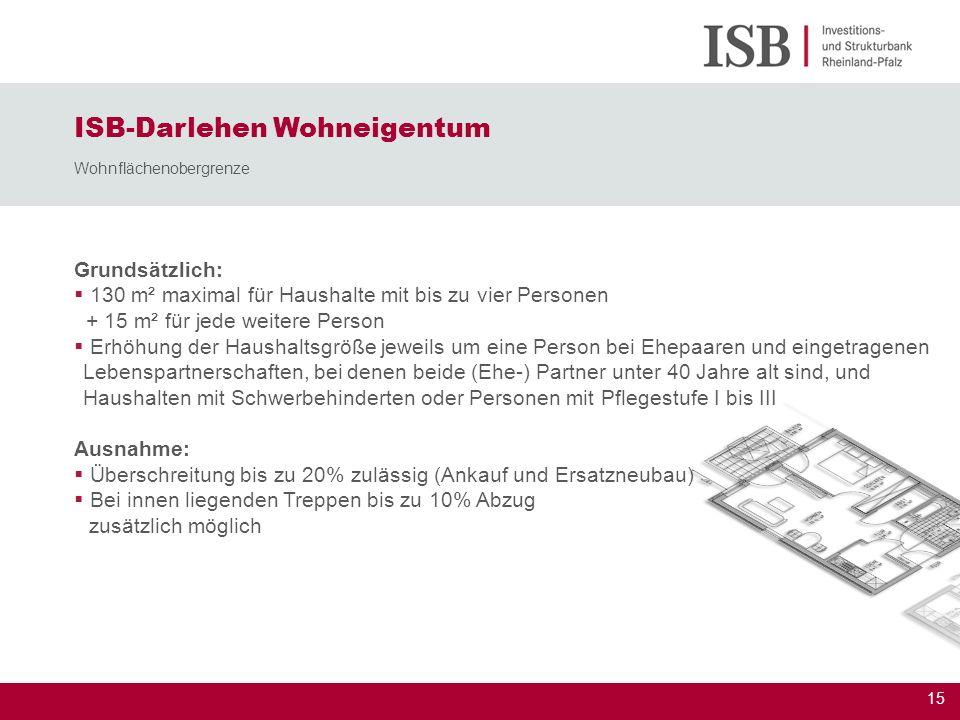 15 Grundsätzlich: 130 m² maximal für Haushalte mit bis zu vier Personen + 15 m² für jede weitere Person Erhöhung der Haushaltsgröße jeweils um eine Pe