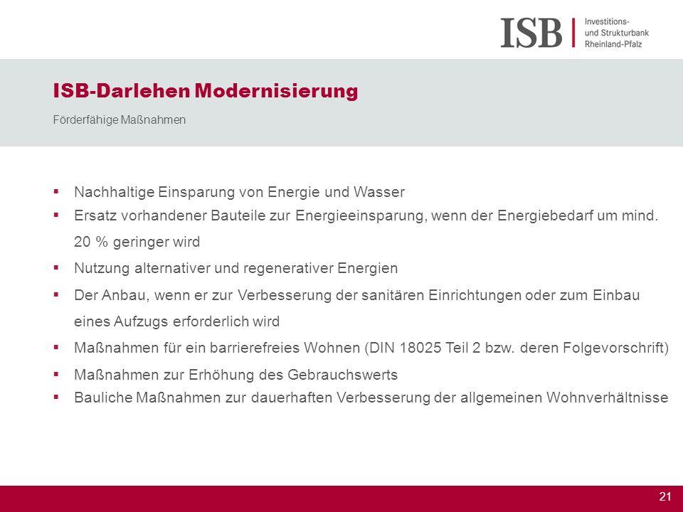 22 ISB-Darlehen Modernisierung Ermittlung des Förderbetrag Max.