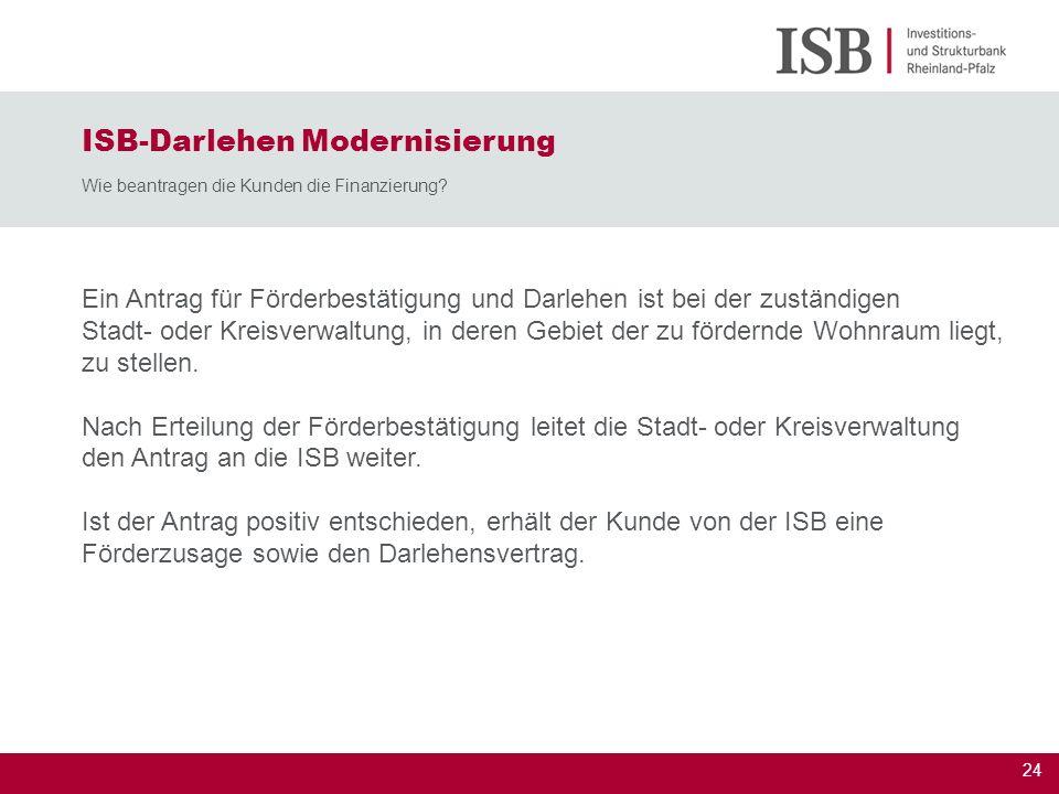 25 ISB-Darlehen Wohneigentum Vorteile für die Darlehensnehmer Höhere Einkommensgrenzen Zinsfestschreibungen für 10, 15 oder 20 Jahre Höhere Darlehenssummen